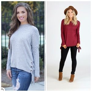 Sweaters - Plush Soft Brushed Side Lace Details Sweater Top